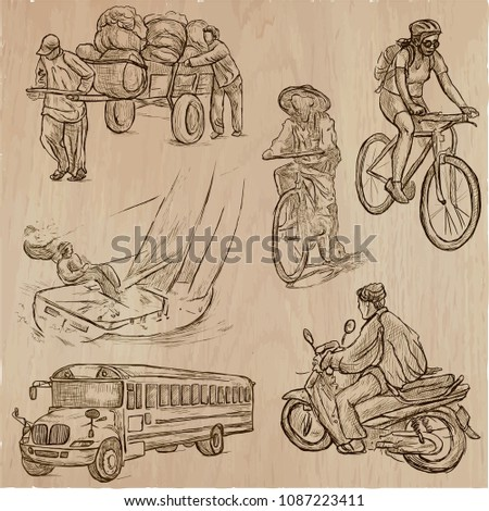 An hand drawn vector collection - TRANSPORT, transportation. Hand drawings, line art, freehand sketching.