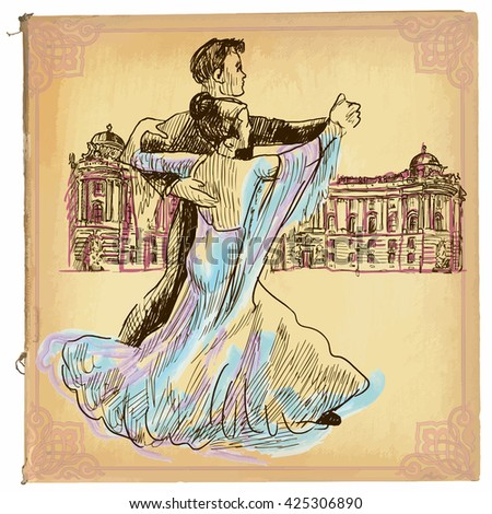 An hand drawn vector illustration, colored line art. DANCING PAIR, waltz dance in Vienna. Freehand sketch of an young couple dancing. Hand drawings are editable in groups. Colored paper is isolated.