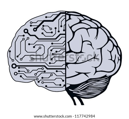 an human brain as a central processing unit. vector digital illustration
