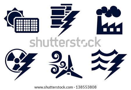 An icon set with six icons representing power and energy generation types. Solar, fossil fuel, nuclear, wind, hydro or water plus oil