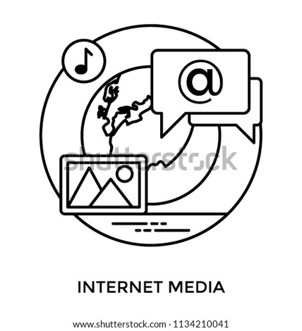 An icon showing landscape, internet sign, music symbol , all revolving around a globe offer internet media concept