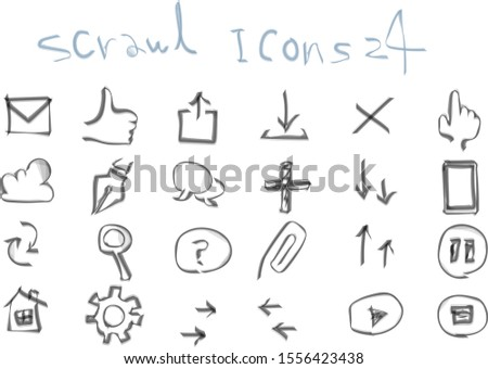 An icon that can be used as a web button, created by scribbled illustrations.