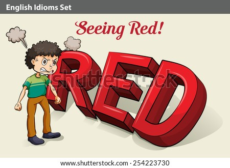 An idiom about an angry boy seeing red Stock fotó ©