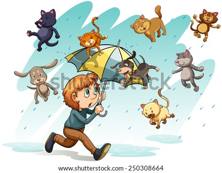 an idiom showing a rain with