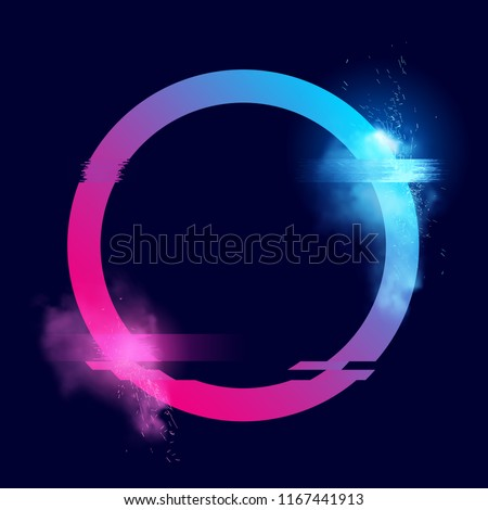 An illuminated circle loop with sparks, smoke and a glitch effects. Glitch tech futuristic Vector illustration design.