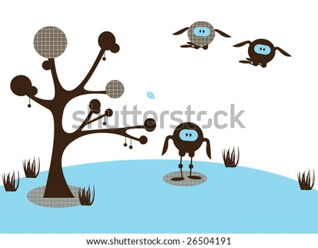 An illustrated card design of an abstract funny landscape, with monster birds