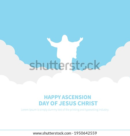 An illustration about ascension of Jesus bless , holy vector design.