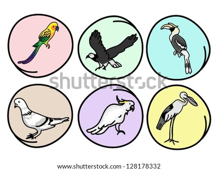 An Illustration Collection of Beautiful Wild Birds, Great Horn bill, Eagle, Pigeons, Parrot, Macaw and Egret on Round Background