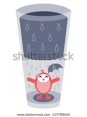 An illustration conveying the common idea of a glass half full or half empty. This can be used for many concepts involving optimism or pessimism.