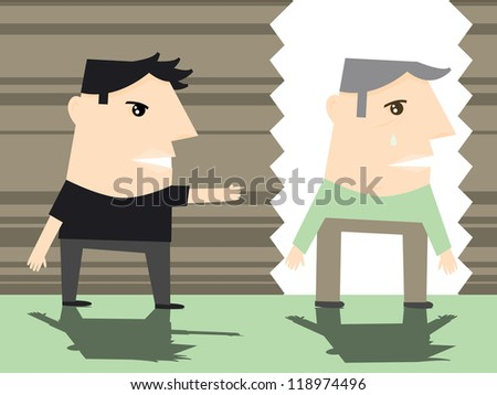 An illustration depicting ageism or a son disrespecting his father or grandfather.