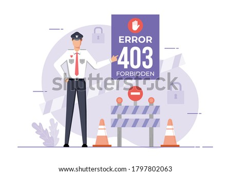 An illustration for page 403 Error forbidden site. Connection error Access Denied. Stock photo ©