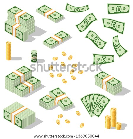 An illustration of a banknote and coin of America. Set of US dollar bills depicted in isometric. Vector graphics. Different versions of stacked bundles of bills.