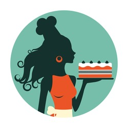 An illustration of a beautiful baker holding freshly baked cake. Retro style round composition