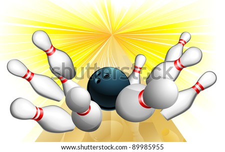 An illustration of a bowling ball scoring a strike - stock vector