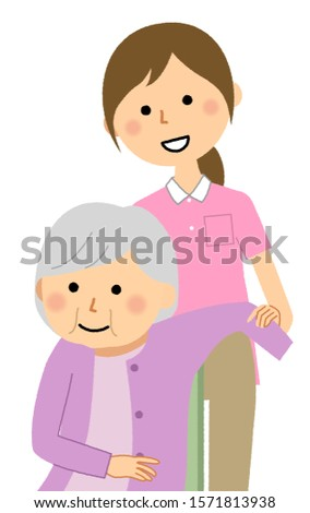 An illustration of a caregiver assisting elderly people in changing clothes.