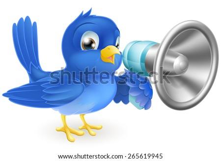 An illustration of a cartoon bluebird blue bird with a megaphone