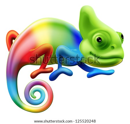 Stock Photo An illustration of a cartoon rainbow coloured chameleon