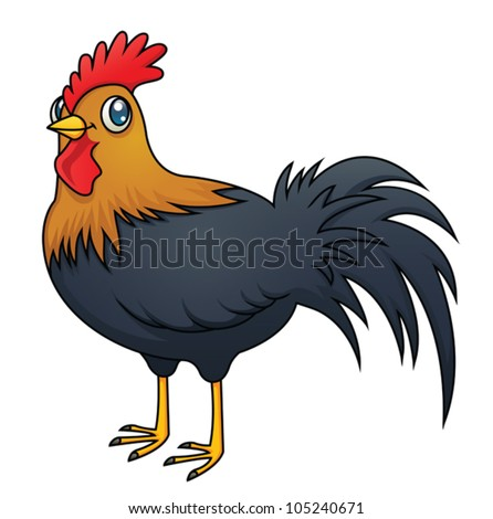 An illustration of a cartoon rooster. Eps10 Vector.