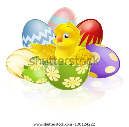 An illustration of a cartoon yellow Easter chick hatching out of a broken Easter egg with more chocolate decorated Eater eggs in the background