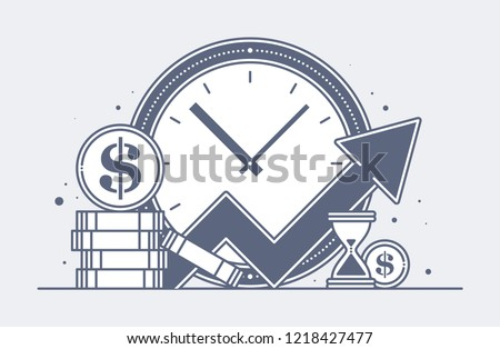 An illustration of a clock with large dollar coins and a growing schedule. Investment, passive income, wealth growth, success. Time is money.