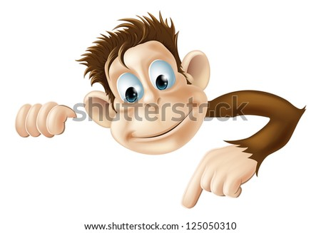 An illustration of a cute cartoon monkey peeking round from behind a sign and pointing or showing what it says