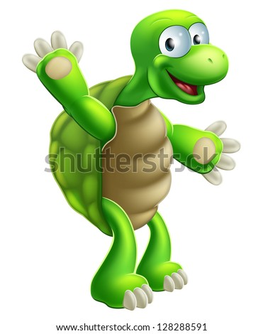 An illustration of a cute cartoon tortoise or turtle character waving