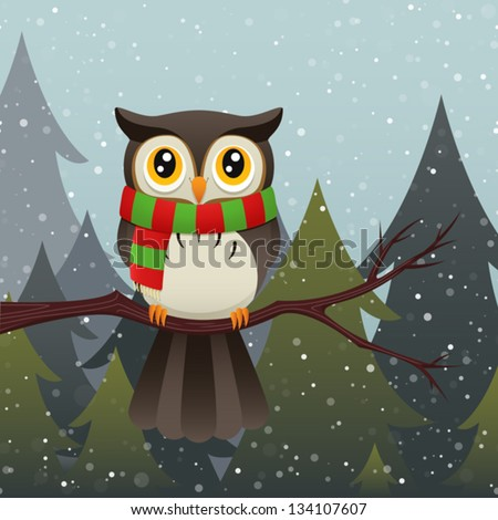 Stock Photo An illustration of a cute owl character wearing a colorful scarf during a snow storm. Eps 10 Vector.