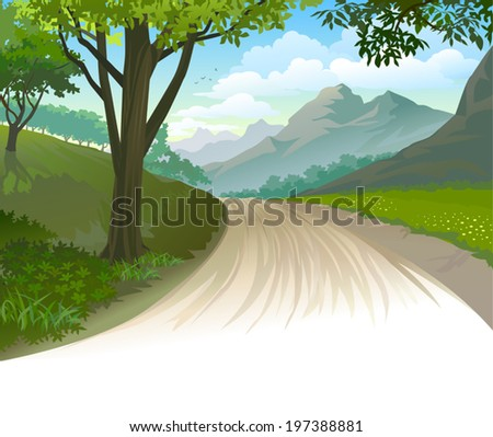 an illustration of a dirt road