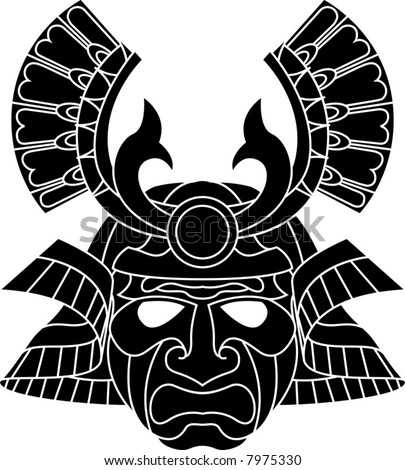An illustration of a fearsome monochrome samurai mask