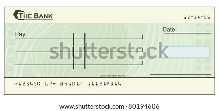 An illustration of a green blank cheque