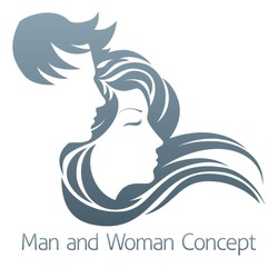 An illustration of a handsome man and beautiful woman with flowing hair in profile