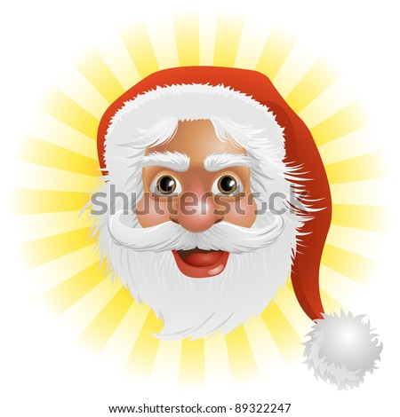 An illustration of a happy Christmas Santa Claus face
