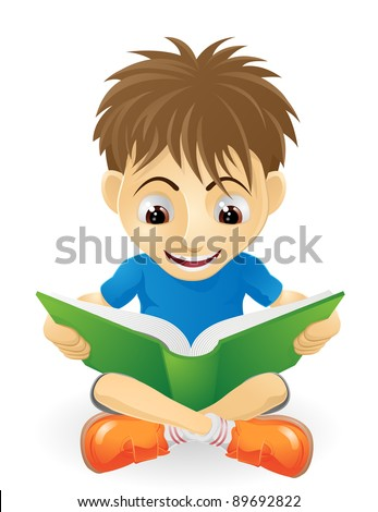An illustration of a happy small boy smiling and reading a book
