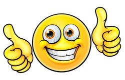 An illustration of a happy smiling emoji emoticon character giving a double thumbs up