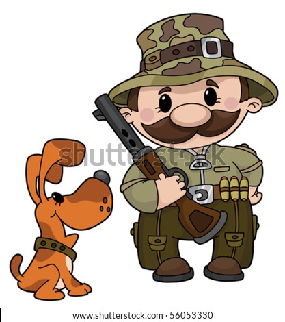 An illustration of a hunter and dog