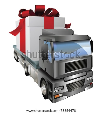 An illustration of a lorry truck carrying a giant gift