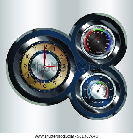 An illustration of a metallic analog clock with temperature and Humidity gauge attached.