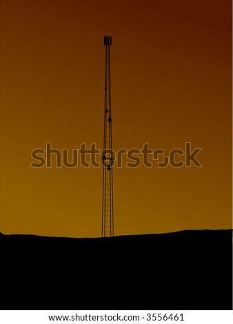 An illustration of a phone mast in silhouette against a setting sun