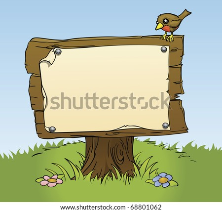 An illustration of a rustic wooden sign with copy space for your own text. Surrounded by a bird and flowers for a perfect woodland scene - stock vector