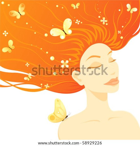 stock vector : An illustration of a serene young red-haired woman with