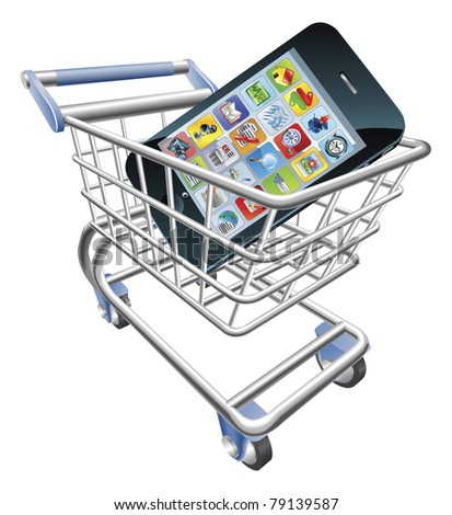 An illustration of a shopping cart trolley with smart phone mobile phone