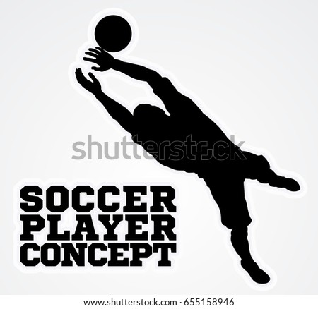 An illustration of a silhouette soccer player goal keeper catching the football ball saving a goal