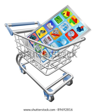 An illustration of a smart mobile phone or tablet PC in shopping cart trolley