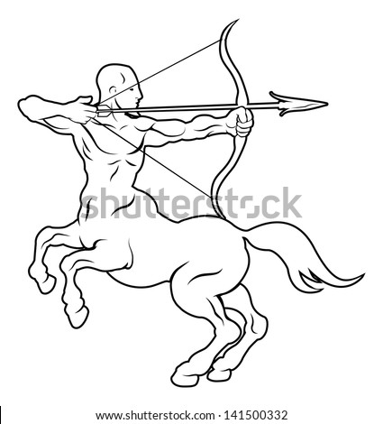 An illustration of a stylised black centaur archer perhaps a centaur archer tattoo - stock vector