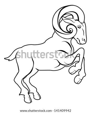 An illustration of a stylised black ram or sheep perhaps a ram tattoo