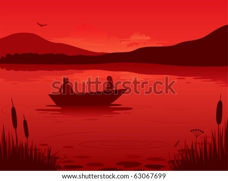 an illustration of a sunset on
