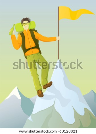 An illustration of a young man reaching a mountaintop and having a refreshing drink to celebrate the achievement.