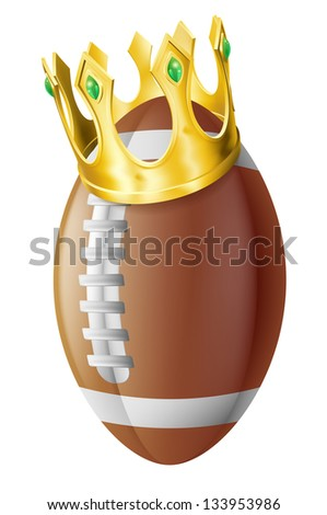 An illustration of an American football ball wearing a golden crown.