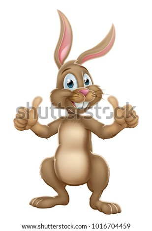 An illustration of an Easter bunny rabbit cartoon character giving a double thumbs up