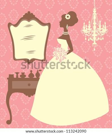 An illustration of an elegant bride in her dressing room - stock vector